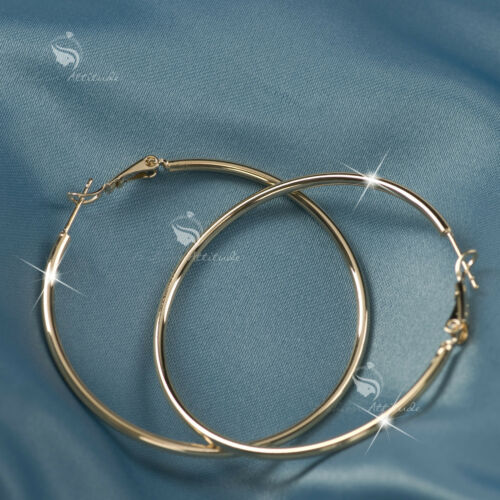 18K GOLD GF HOOP EARRINGS Round Medium Solid WOMENS 50MM