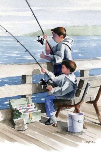 BROTHERS FISHING Art Print 11 x 14 Watercolor by Artist DJR w//COA