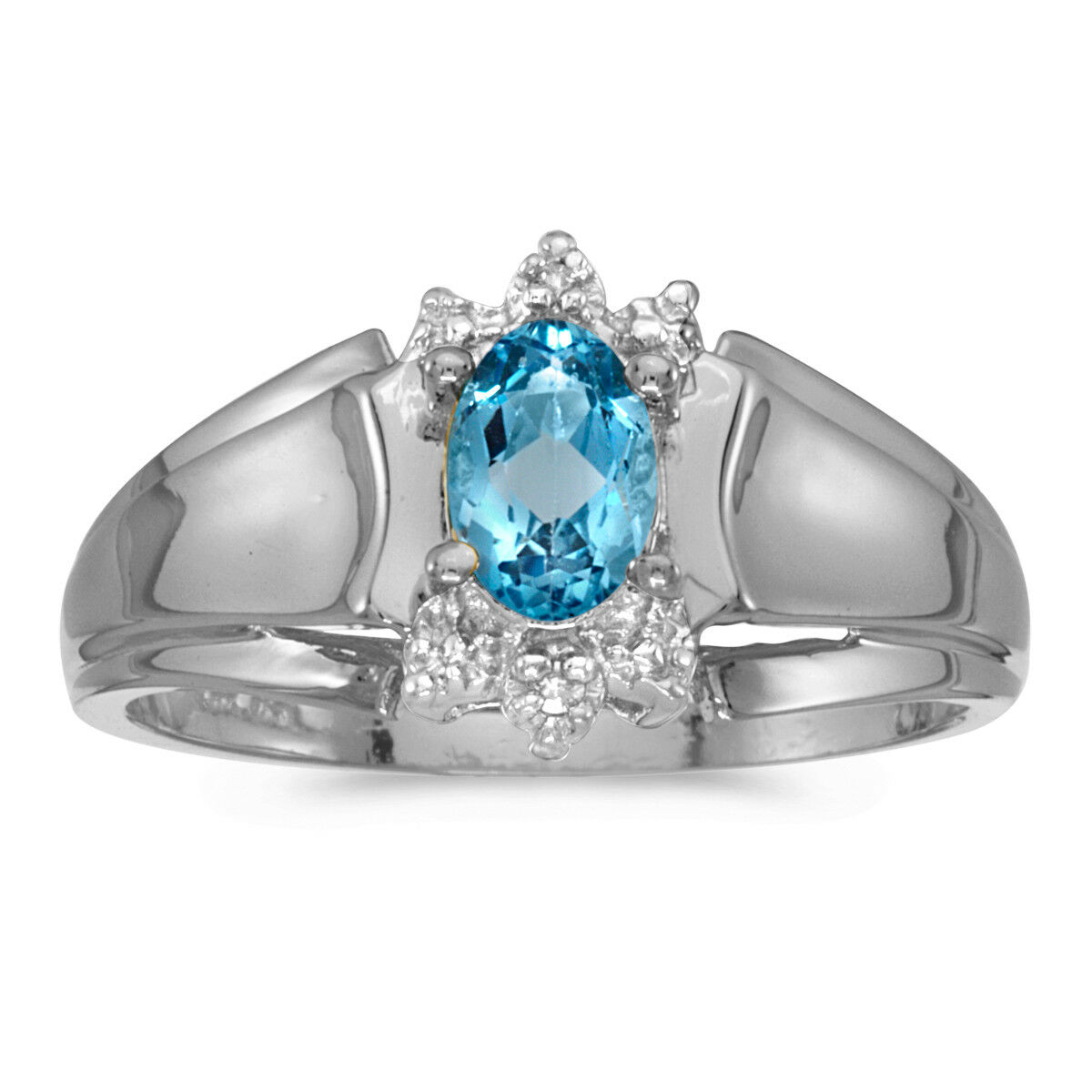 14k White gold Oval bluee Topaz And Diamond Ring