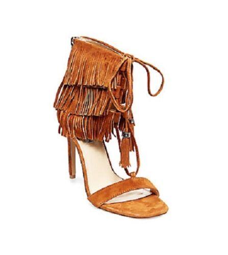 NIB Steve Madden Women/'s Shay Fringe Stiletto Sandal in Chestnut