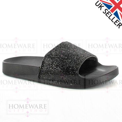 LADIES SANDAL SLIDER DIAMANTE UPPER COMFORT SUNKEN FOOT MULE UK2-8 SILVER NEW