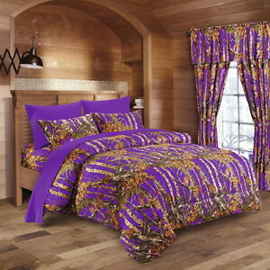 12 pc purple camo set king size comforter sheet with curtains camouflage ebay. Black Bedroom Furniture Sets. Home Design Ideas