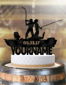 Amazing Personalized Fishing Couple Boat With Name And Date Cake Topper Ebay Funny Birthday Cards Online Eattedamsfinfo