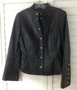 Anne Klein Womens Black Leather Military Style Coat Jacket SIze 8 ...