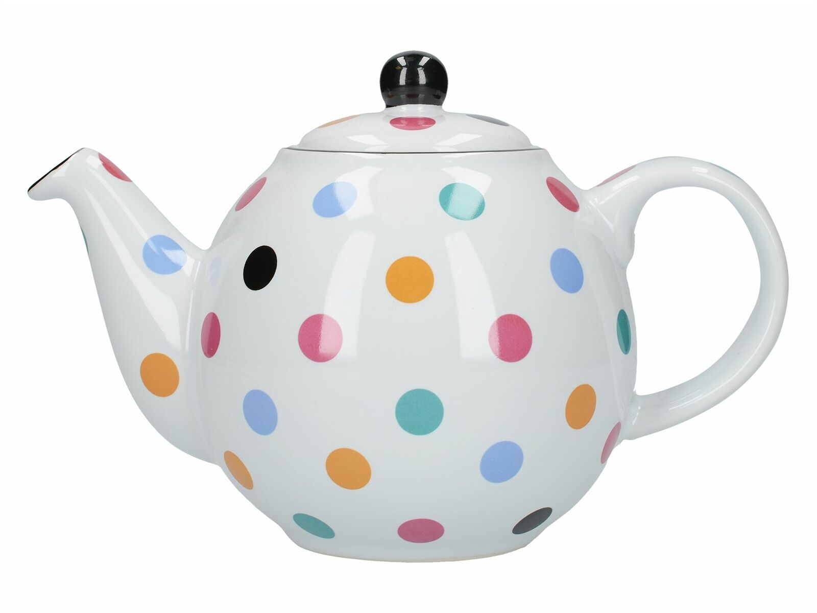 London Pottery Globe 6 Cup Teapot Weiß With Multi Spots