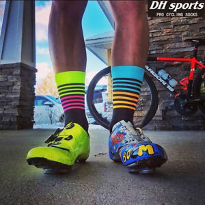 Hombres-Mujeres-unisex-DH-Sport-Ciclismo-Calcetines-Mid-Calf-Respirable-Sports