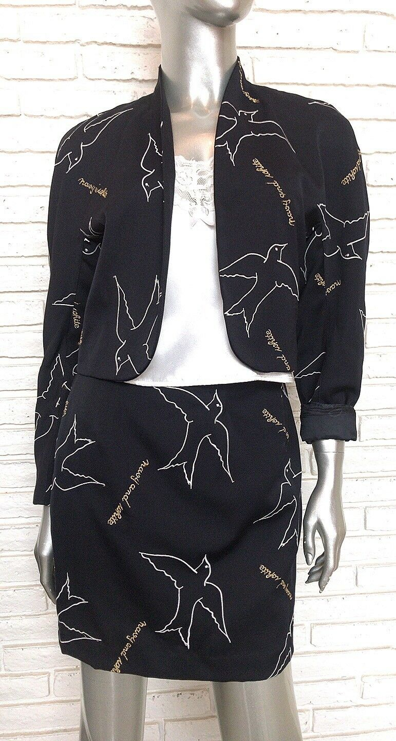 Vintage Mondi Two Two Two Piece Skirt Suit Size Small Navy bluee 475a8e