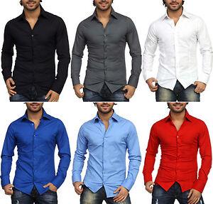 Camicia-Moda-Uomo-Slim-Fit-Manica-Lunga-Stretta-Elegante-Aderente-Elasticizzata
