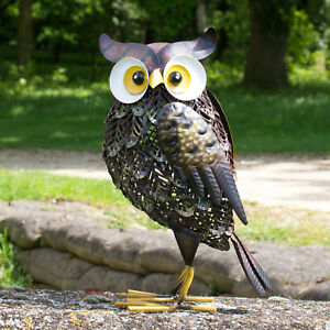 Attirant Image Is Loading Large 38cm Standing Metal Owl Garden Ornament Outdoor