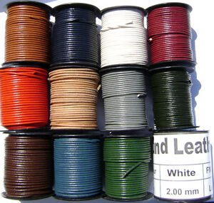 Genuine-Natural-Leather-Cord-Goat-Necklace-Bracelet-Lace-2mm-Round-25-Yard-Spool