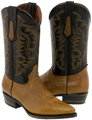 Mens Brown Genuine Bison Leather Stitched Leather Western Cowboy Boots Pointed