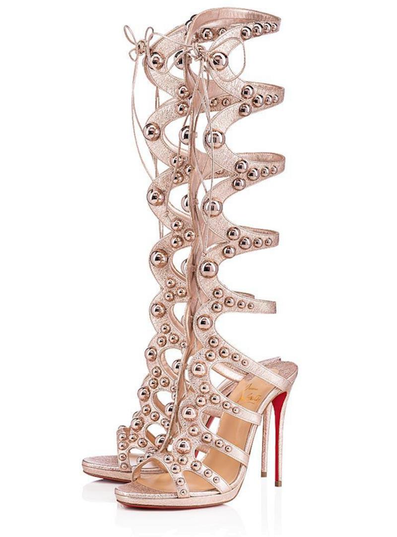 NIB Christian Louboutin Amazoutiful 120 pink gold Studded Sandal Heel Pump 36