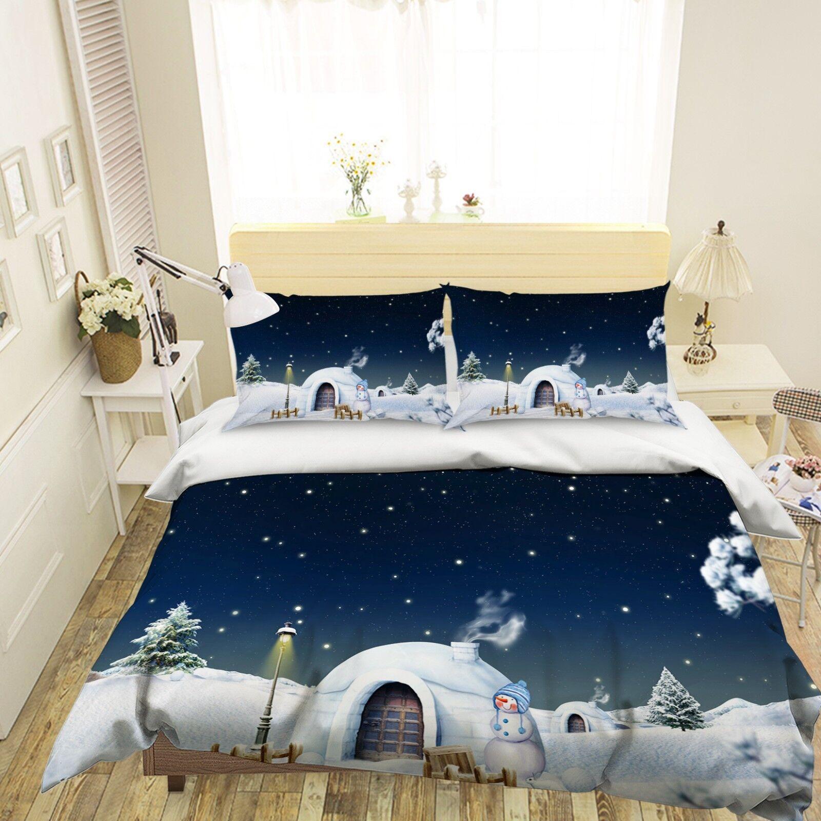 3D Christmas Xmas House 7 Bett Pillowcases Quilt Duvet Startseite Set Single Königin AU