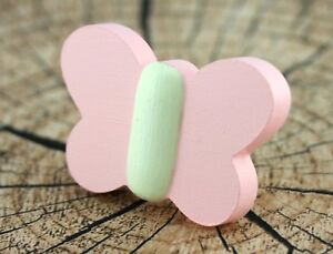 2x-Kids-cabinet-handles-and-knobs-wood-Cute-butterfly-drawer-pulls-cupboard-door