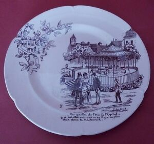Assiette Parlante Vichy Ameline Antique French Majolica Talking Plate Bnbths6v-08011054-900277071