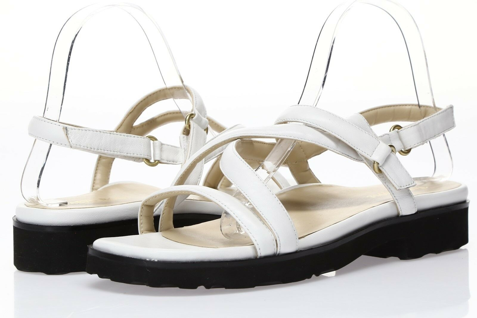 TARYN pink Womens 'Taylor' White Leather Strappy Sandals Sz 10 M - 231331