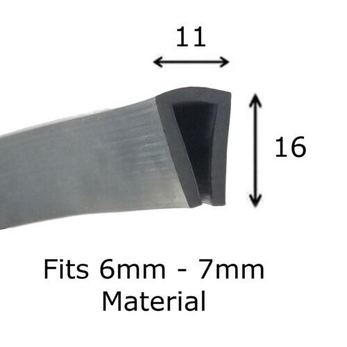 Canal de caucho negro de sello de ajuste ribete de extrusión u 16 Mm x 11 mm