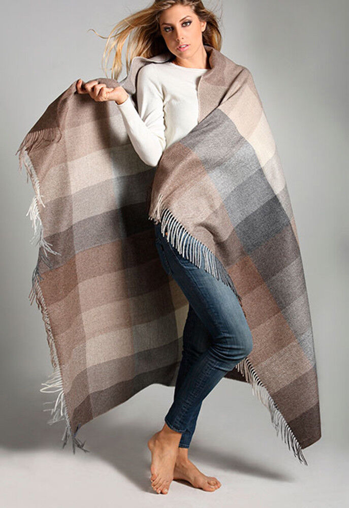 Alpaca Neutral Multi-Farbe Patchwork Throw, All Natural No Synthetics