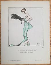 Gazette du Bon Ton Pochoir Art Deco La Femme a l´eventail by Drian - 1920