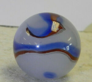 #11973m Large .76 In Vintage German Handmade Blueblood Oxblood Corkscrew Marbles