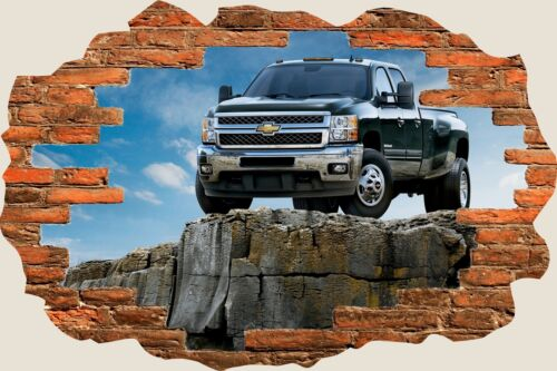 3D Hole in Wall Cheverolet Silverado Chevy Truck View Wall Stickers Mural 627