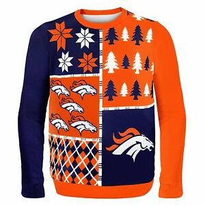 brand new 56dab bba20 Details about Denver Broncos NFL Christmas Ugly Sweater L