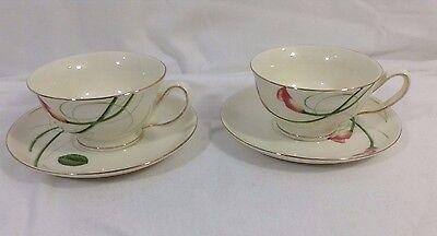 Fine Porcelain European Home Decor Js Imports Inc Tea Cup Saucer Set Pair Ebay