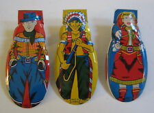 Set of 3 Old Vintage c.1950's Toy CLICKERS Cowboy Cowgirl Indian WESTERN
