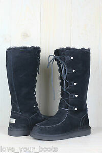 Ugg Appalachin Tall Black Suede Sheepskin Womens Snow Boots Us 5 New