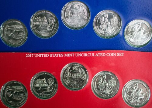 2017 P and D America the Beautiful BU Quarters 10 ATB Park Coin Set Blister Pack