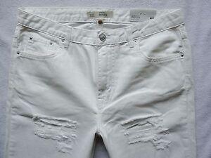 TOPSHOP-HAYDEN-shorts-boyfriend-Jeans-white-rips-3-4-length-12-W30-L30-L25