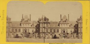 Château Da Fontainebleau Francia Foto Stereo BK Parigi Vintage Albumina Ca
