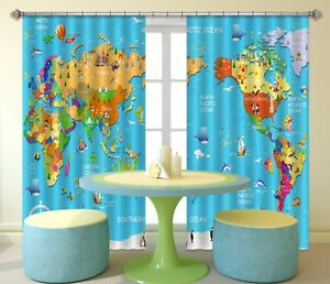 3d world map 861 blockout photo print curtains drapes fabric window image is loading 3d world map 861 blockout photo print curtains gumiabroncs Choice Image