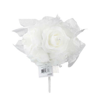 Wedding Bouquet Holding Flowers 7 Heads White Foam Rose Pearl Ribbon Lace
