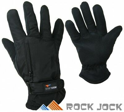 R40 Unisex Rock Jock Black Thermal Fleece Lined Non Slip Zipped Pocket Gloves