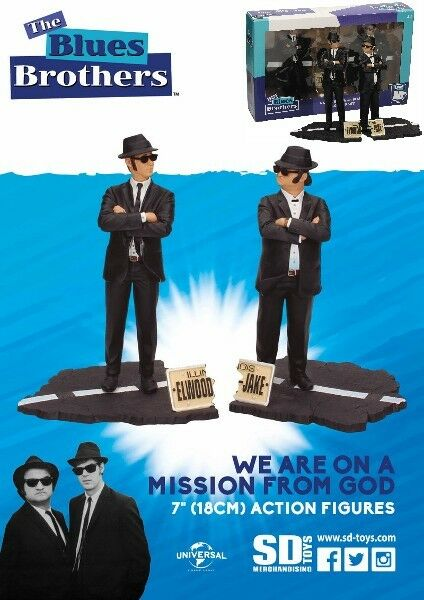 SD Toys The bluees Bredhers Jake and Elwood 7 Inch Figure Set New