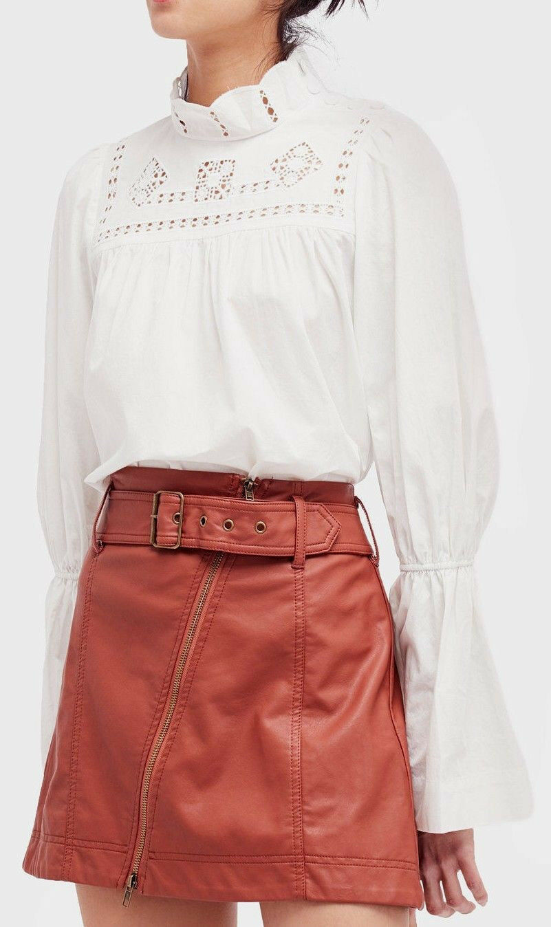 Free People OB620461 Another Eternity Cotton Bell-Sleeve Top in Ivory