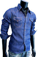 New Blue Western Cowboy Slim fit Button down  Shirt men casual sz S Small pop