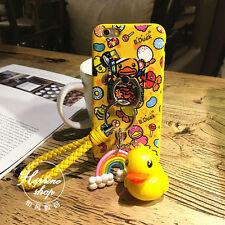 Glow In Dark Cartoon Duck Pendent Keychain Holder Ring Strap case for iPhone 7
