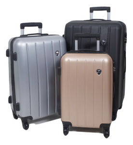 e0294b66c1ae Details about Set of 3 piece travel luggage wheel trolleys suitcase bag  hard shell - Rhino