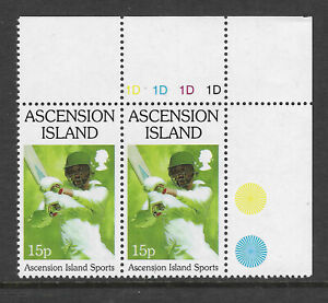 ASCENSION-1998-SPORTS-CRICKET-Single-Value-Top-Right-Pair-MNH