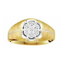 10K Yellow Gold 0.02ctw Diamond Mens Cluster Ring