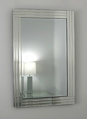 """Gracita Silver Glass Framed Rectangle Bevelled Wall Mirror 48"""" x 32"""" X Large"""