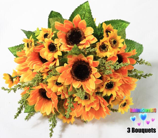 21 PCS Artificial Sunflowers Bouquets 39 Buds Silk Flowers Home Decoration F40