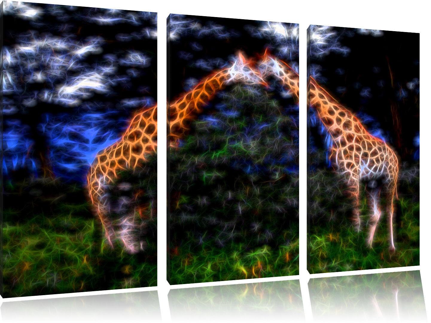 Bello Coppia di Giraffe Nella Savana 3-Teiler Quadro su Tel Decorazione Parete