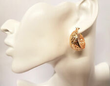 2Pcs Women Gold Tone Big Large Oval Huggy Ear Hoop Stud Huggies Earrings Jewelry