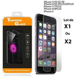 iPhone-8-7-5-SE-6-6S-PLUS-X-Vitre-protection-VERRE-trempe-Film-protection-ecran