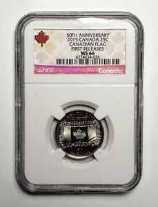 2015 Canada Flag 25 Cents Coin NGC MS 66 First Release