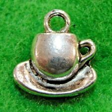 SC5903 6 Tea Charms Antique Silver Tone Cup and Saucer Charms