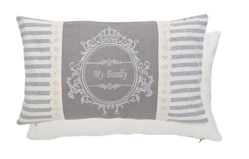 Clayre/&Eef Kissen my Family Zierkissen Couchkissen mit Inlett 35x50cm 52542